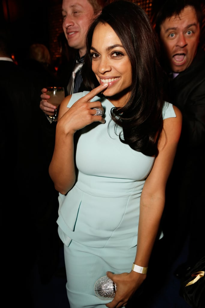 Actress Rosario Dawson posed solo at the afterparty.