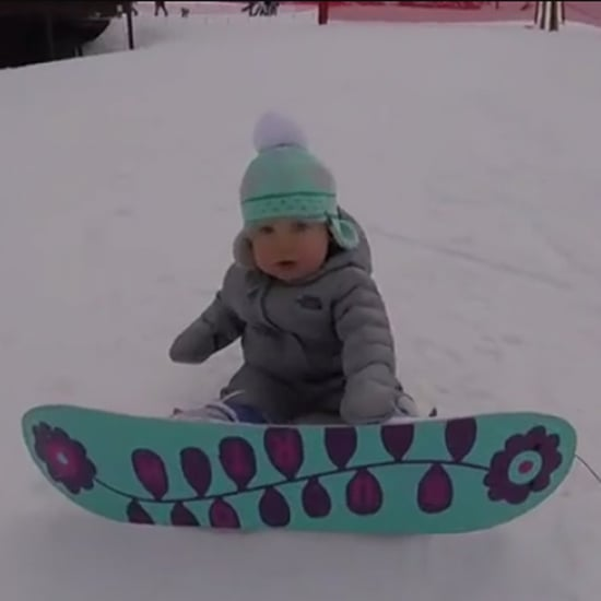 Toddler Snowboarding For the First Time