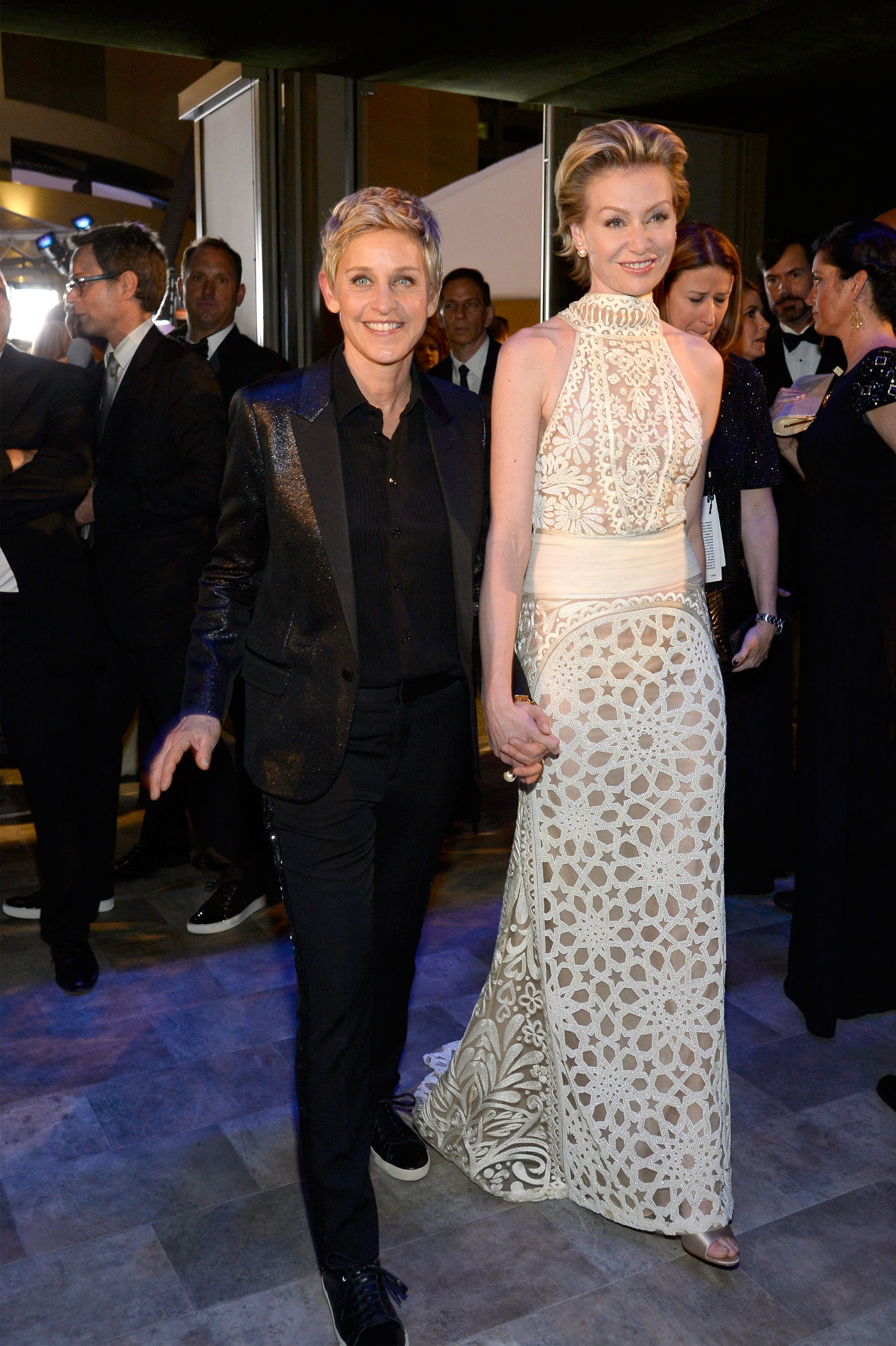 Ellen DeGeneres and Portia de Rossi walked into the ball hand in hand.