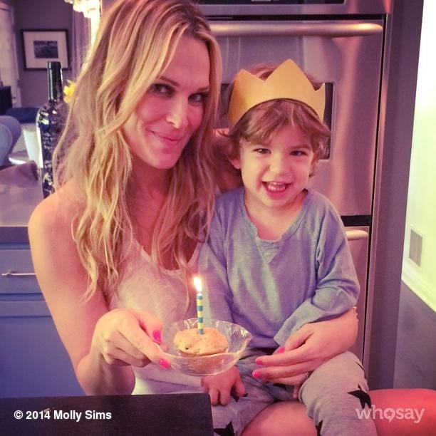 Molly Sims and Brooks Stuber celebrated his second birthday with a breakfast muffin. Source: Instagram user mollybsims