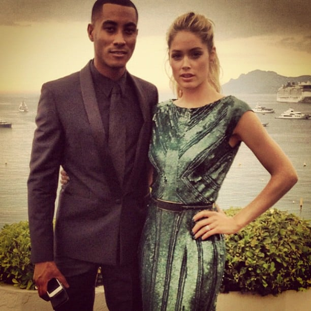 Doutzen Kroes posed in a glittery gown with husband Sunnery James in Cannes.  Source: Instagram user doutzenkroes1