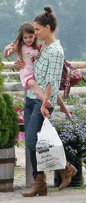 Katie Holmes Wears Plaid Steven Alan Top and Cowboy Boots