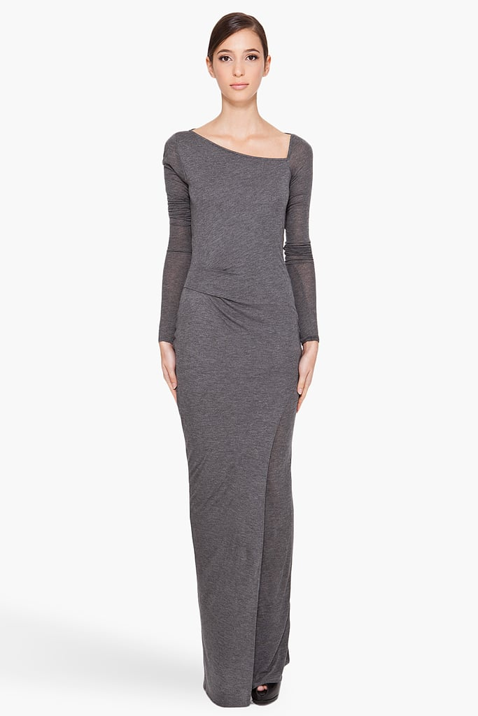 Wear this alone or belted for a simple, streamlined look.  Helmut Lang Long Jersey Dress ($295)