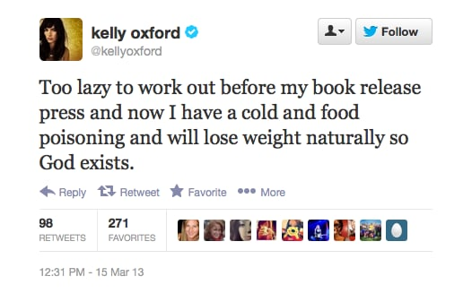 Kelly Oxford finds meaning in food poisoning.