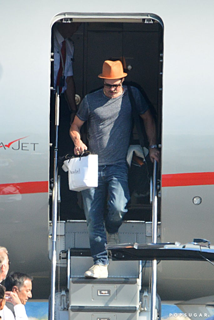 Brad Pitt touched down in Nice, France, with his family on Friday.