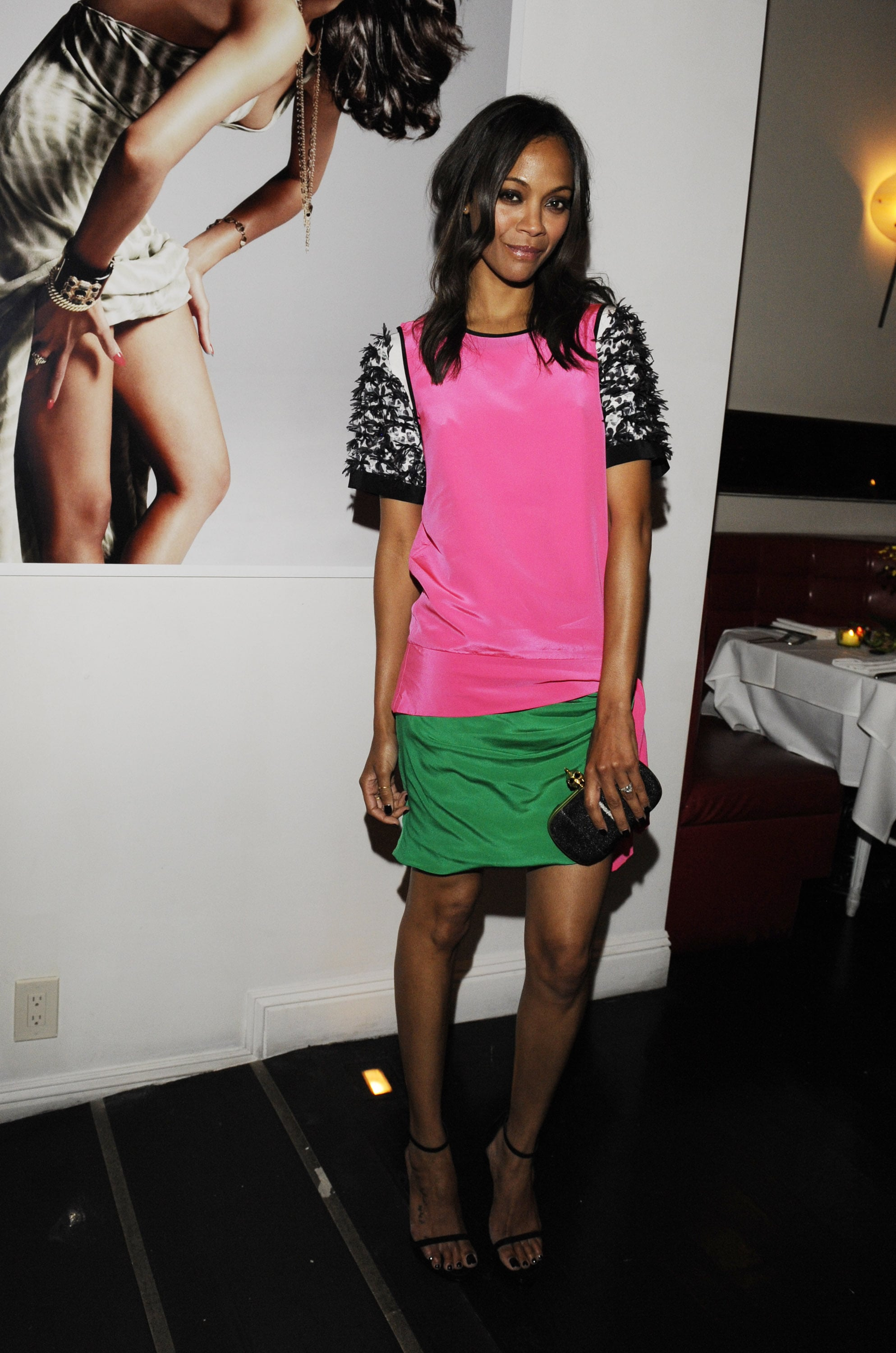 Talk about colorblock cool: Zoe wore one of Prabal Gurung's Resort 2012 sheaths to Flaunt Magazine's Neo-Golden Age party in August 2011.