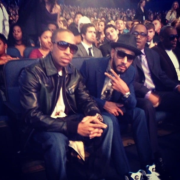 Swizz Beatz and Ludacris found their seats inside the Nokia Theater.  Source: Instagram user itsludacris