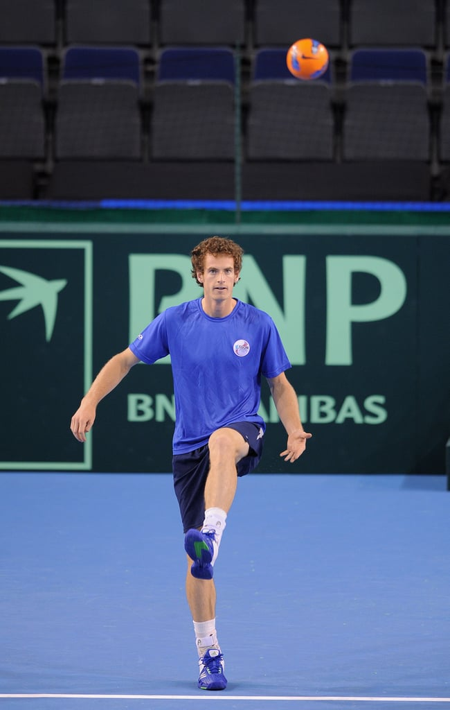 Andy Murray sported monochromatic hues while warming up with a soccer ball before the Great Britain v Luxembourg Davis Cup tie in Scotland in July 2011.
