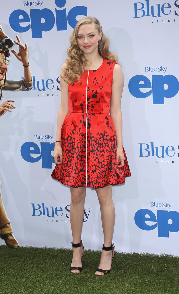 Amanda Seyfried was a sassy lady in red Preen at the Epic screening in NYC. Her bold look was not complete without black ankle-strap sandals and tousled waves.