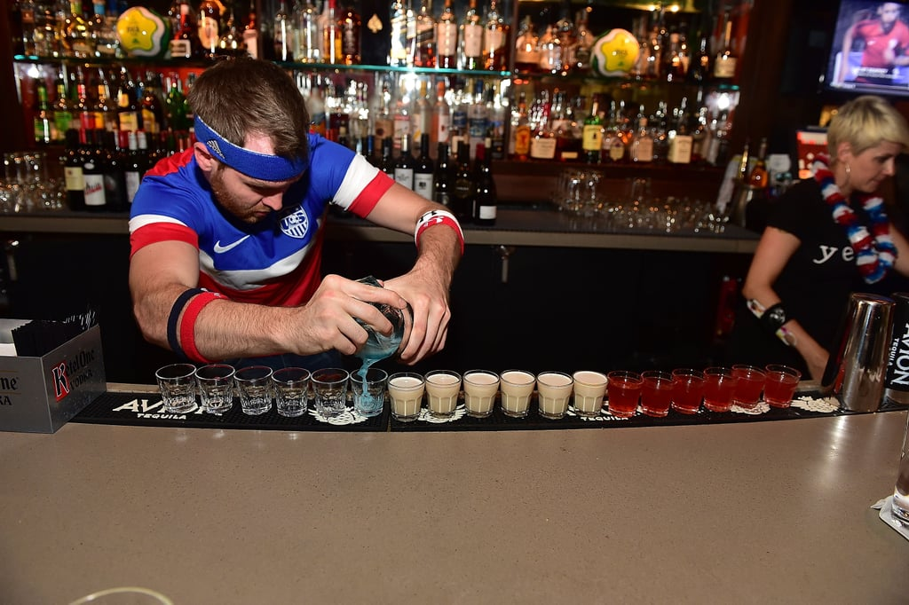 Red, white, and blue shots were poured.