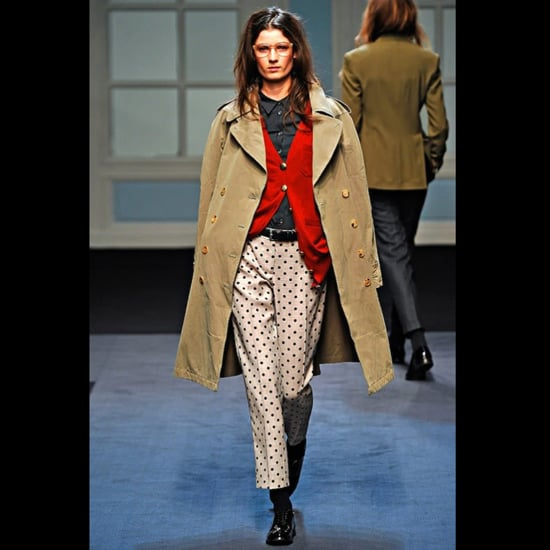 The trend continues for Fall 2011. Here a preppy, cropped version in taupe from Paul Smith.