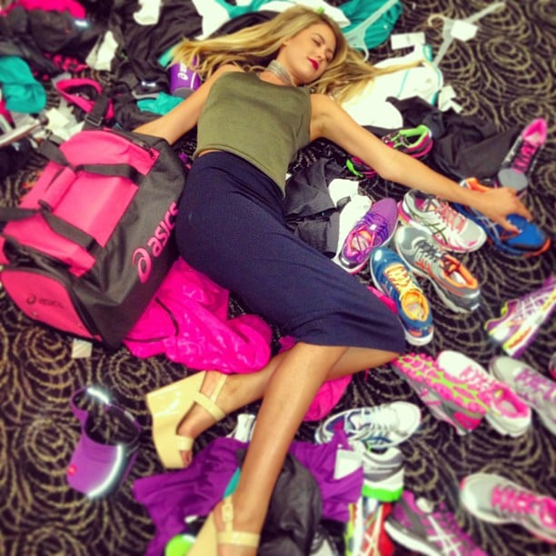 Jesinta Campbell found herself surrounded by sports gear. Source: Instagram user jesinta_campbell
