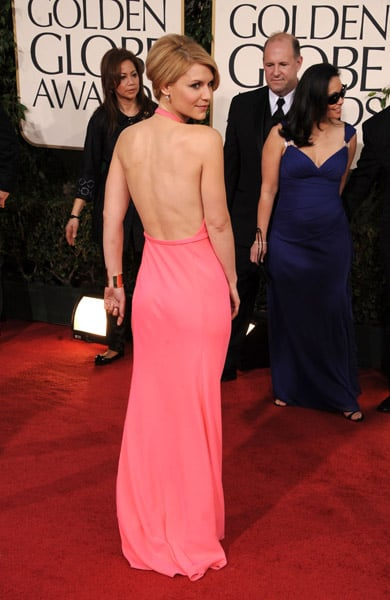 The open back of Claire Danes's hot pink dress.
