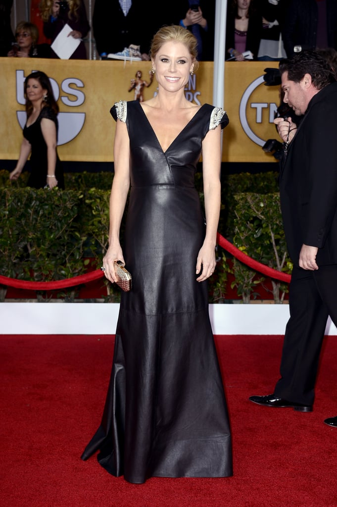 Julie Bowan looked sharp and sexy in a Johanna Johnson leather gown.