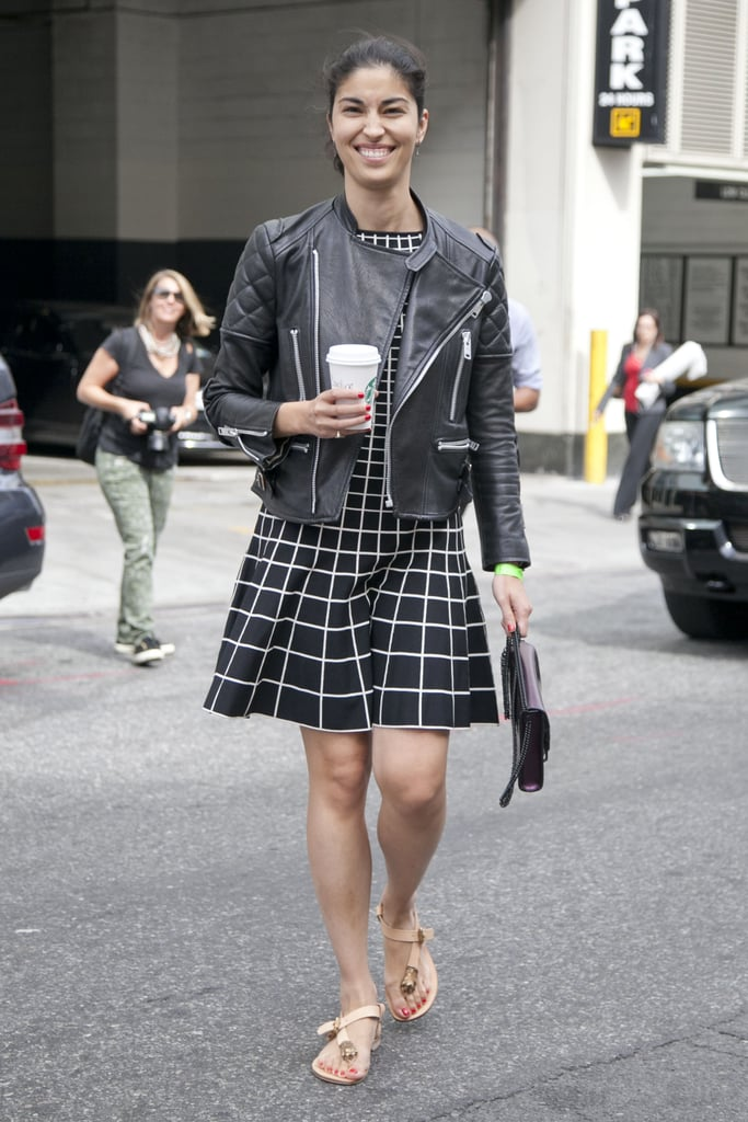 Caroline Issa livened up a leather jacket with a windowpane print.