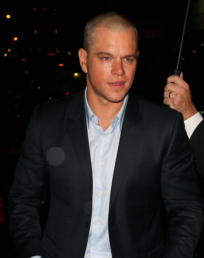 Matt Damon left the Late Show with David Letterman in NYC.