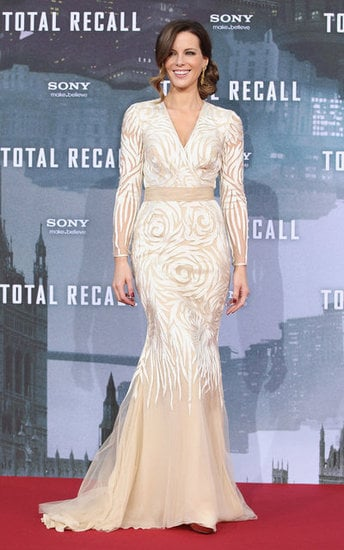 Not to be outdone at the German premiere of Total Recall, Kate Beckinsale looked picture-perfect in this cream and beige Naeem Khan gown. The fishtail silhouette lent an Old Hollywood feel to the look, and we love that Kate let the dress do all the talking, keeping accessories to a bare minimum (not even a purse!). P.s — does this woman ever age?