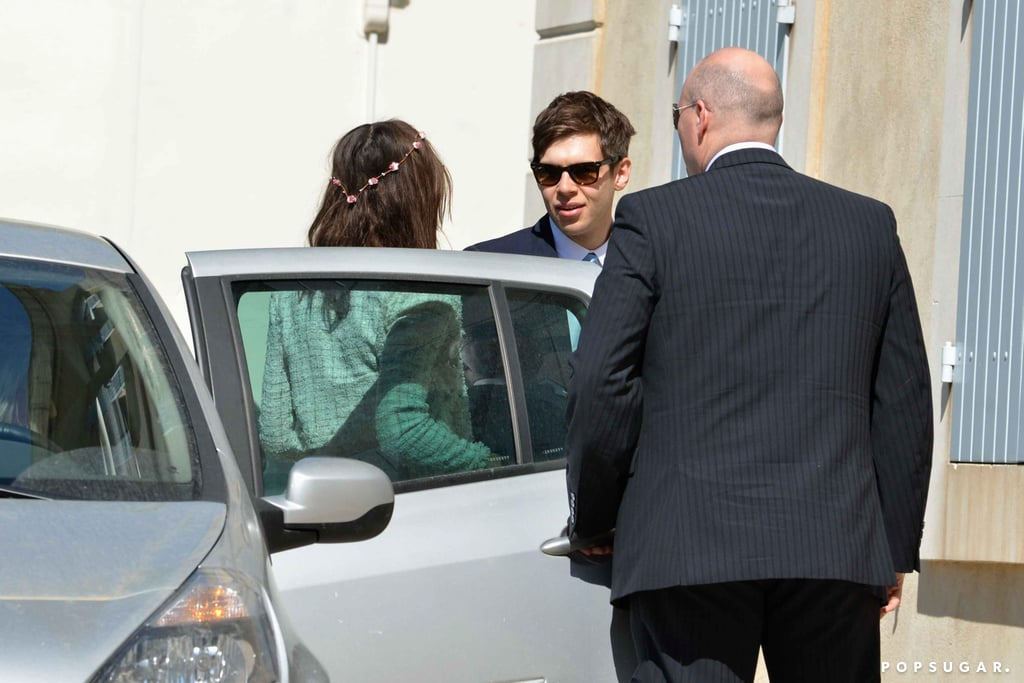 James Righton helped his bride, Keira Knightley, out of the car on Saturday.