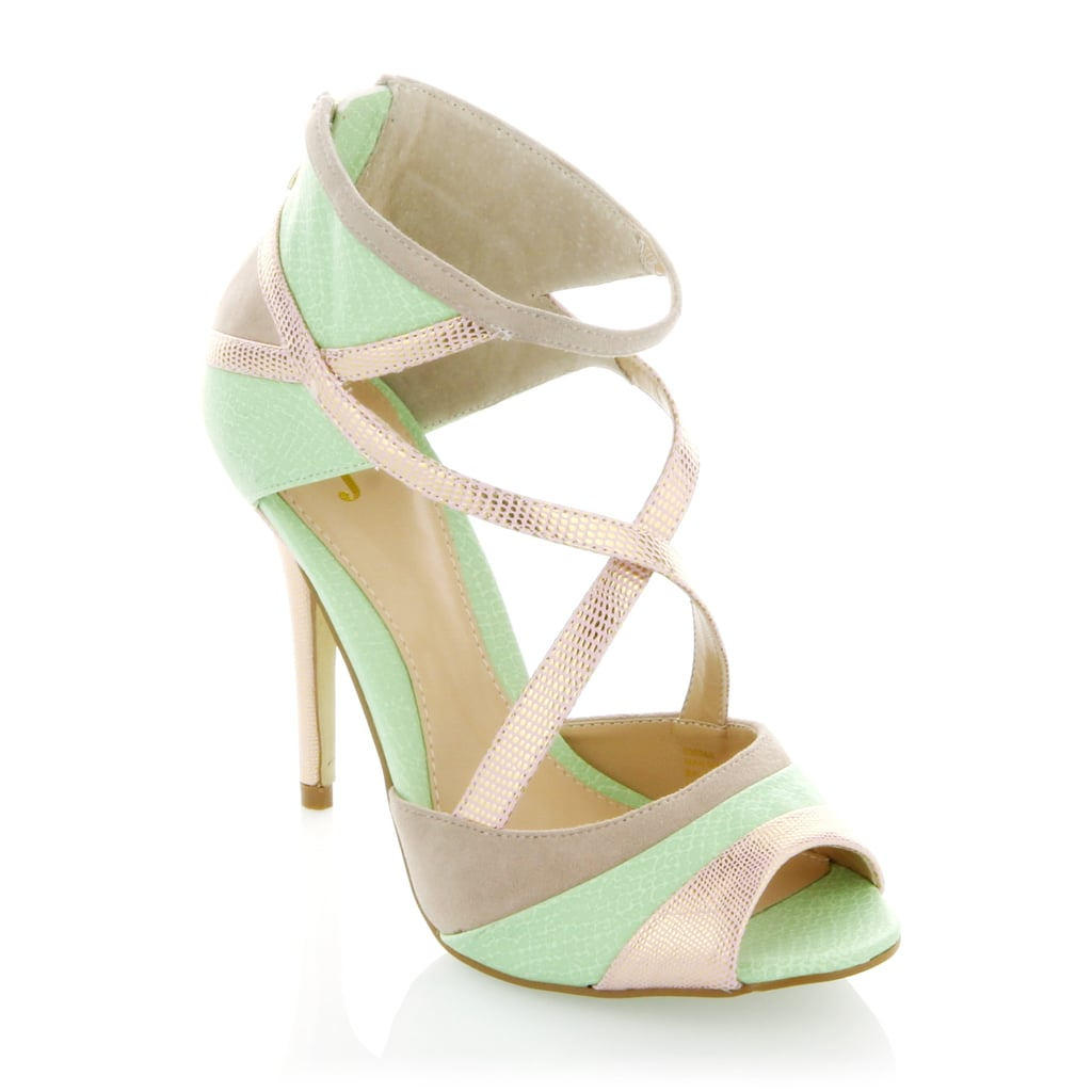 """June Ambrose """"Faye"""" Strappy Pump With their daring python print and unpredictable mixed-media style, these strappy heels bring out the sexy in the office with a pencil skirt or on the town with a sultry sequined dress."""
