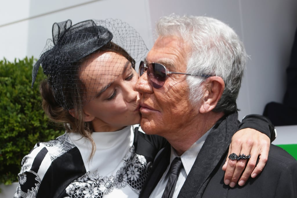 Sharni Vinson gave visiting designer Roberto Cavalli a kiss on the cheek.