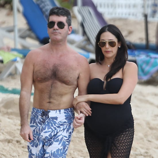 Shirtless Simon Cowell and Lauren Silverman in Barbados