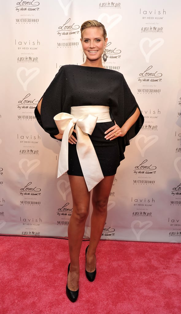 Heidi Klum wore a graphic black and white dress on the red carpet in 2010.