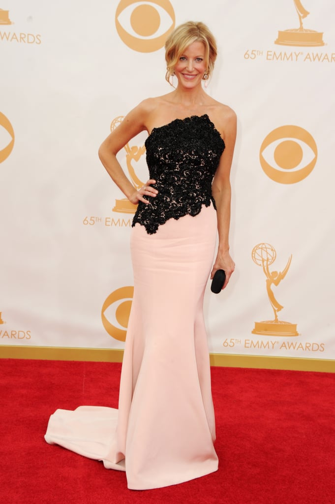 Anna Gunn went with classic black and white in a lace-topped Romona Keveza gown that she said she picked for the Old Hollywood glamour.