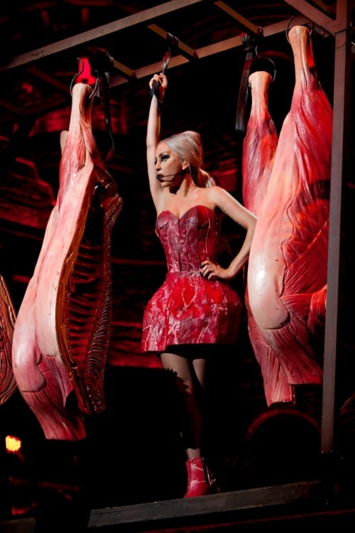 Lady Gaga debuted her latest meat dress during a performance in Tokyo.  Source: Twitter user ladygaga