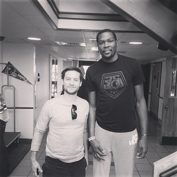 NBA player Kevin Durant towered over Tobey Maguire. Source: Instagram user easymoneysniper