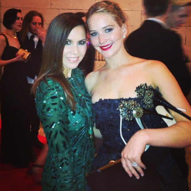 Monique Lhuillier had a moment with Jennifer Lawrence inside the gala. Source: Instagram user moniquelhuillier