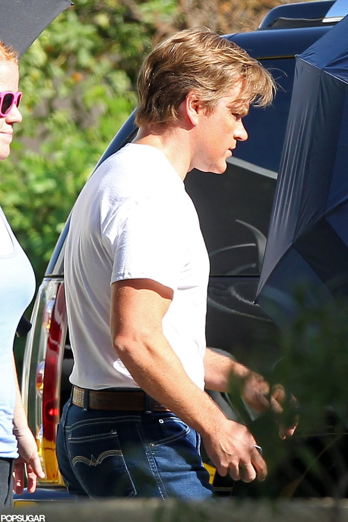 Matt Damon made his way to a car on the set of Behind the Candelabra.