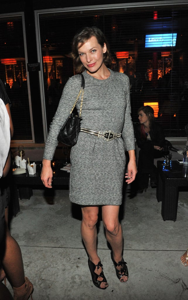 Milla Jovovich arrived at the Sony Pictures Classics 20th anniversary party in a sophisticated sheath and cutout booties.