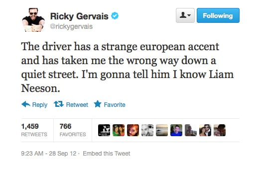 Ricky Gervais knows Liam Neeson's Taken character will save him from a rogue taxi driver.