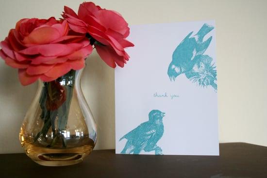 The Card Shop: Screenprinted Bird Thank You Card