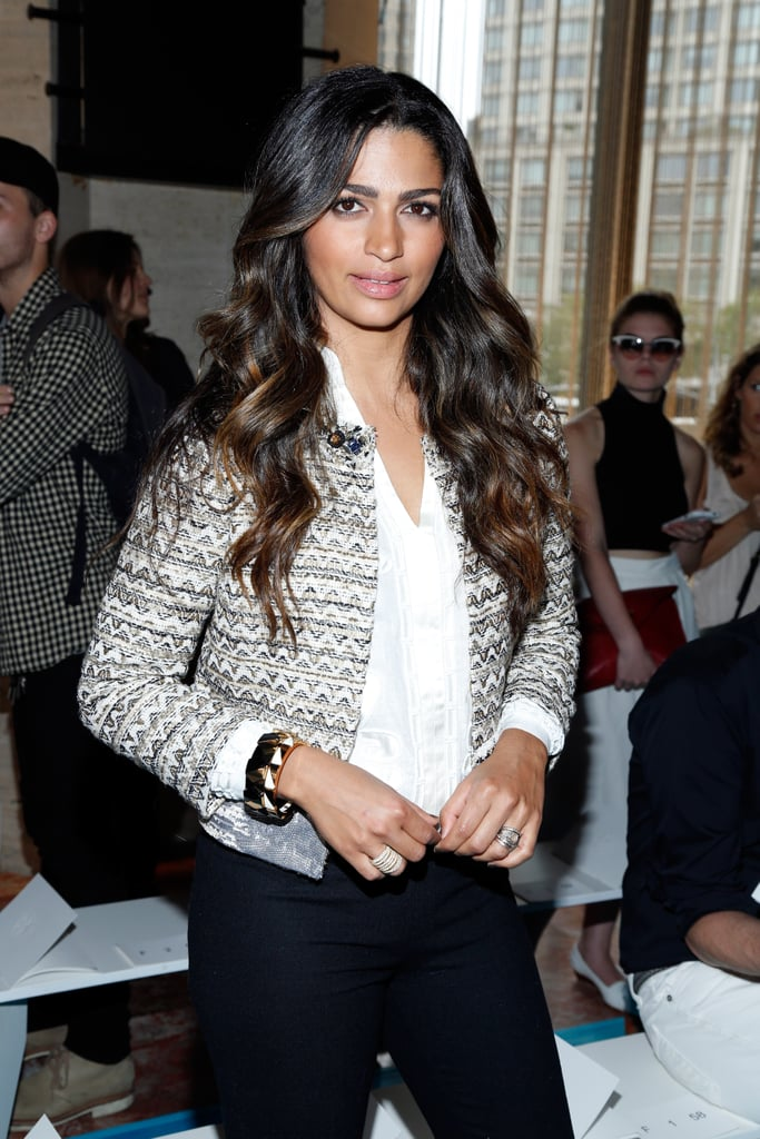 Camila Alves popped up in the front row for the Tory Burch show on Tuesday.