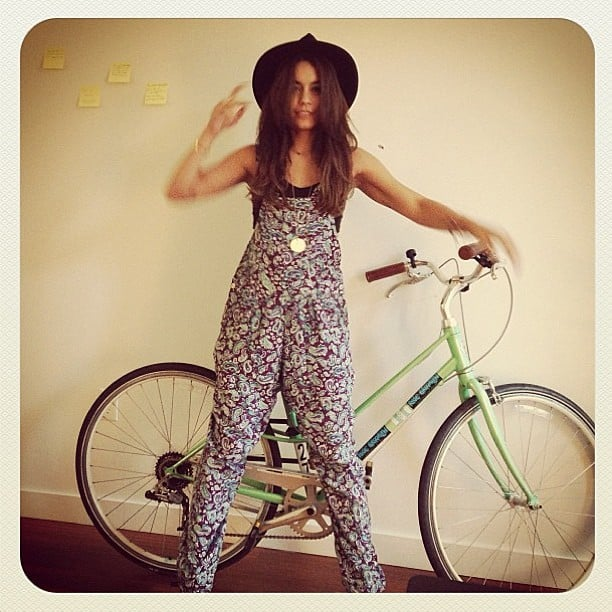 Vanessa Hudgens showed off a cool pair of printed overalls while posing with an even cooler bike. Source: Instagram user vanessahudgens