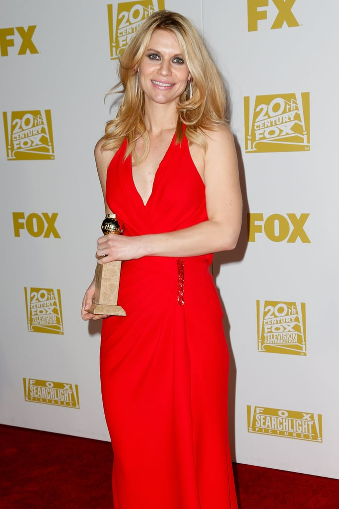 Claire Danes showed off her Golden Globe after the show.