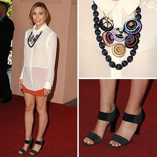 Elizabeth Olsen Orange Miniskirt