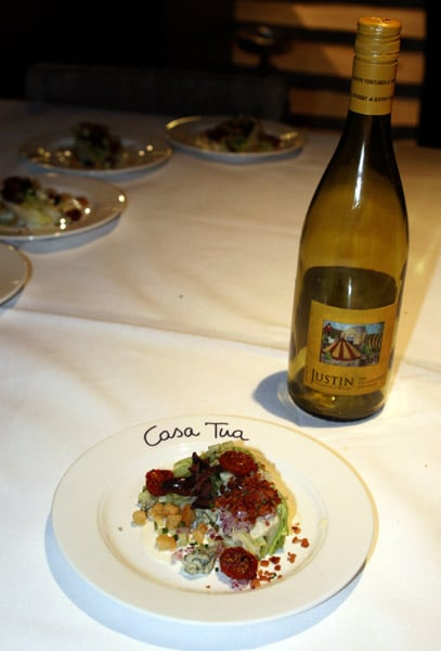 """Fiji recently added a winery, Paso Roble's Justin, to their portfolio, so all of the wines poured at the dinner were from the label. """"The Wedge"""" was paired with a Justin 2010 Chardonnay. It was a delightful pairing!"""