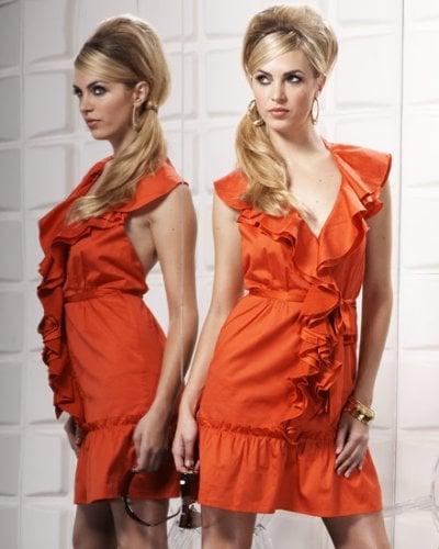 Bebe Orange Sleeveless Cotton Ruffle Dress