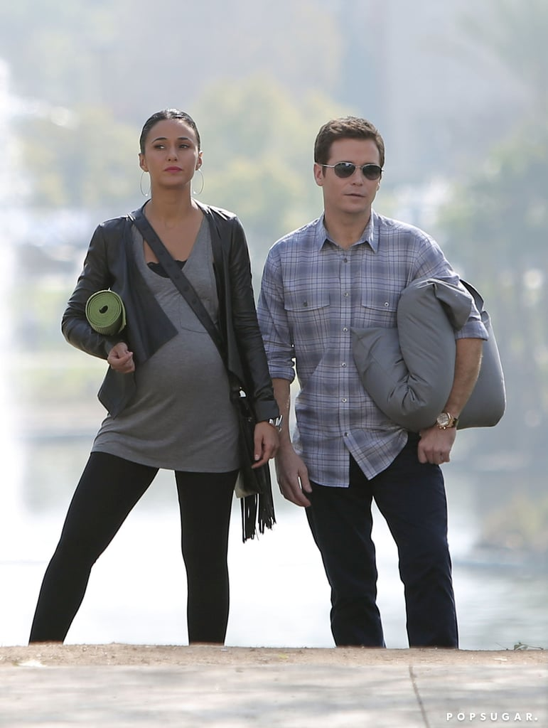 Chriqui and Connolly clutched yoga gear.