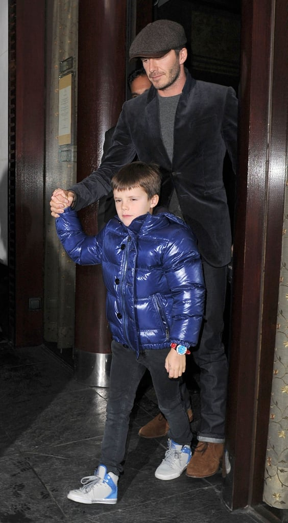 David Beckham took his son Cruz Beckham out to dinner with friends in London.