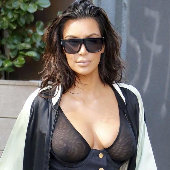Kim Kardashian Wearing See-Through Top in NYC August 2016