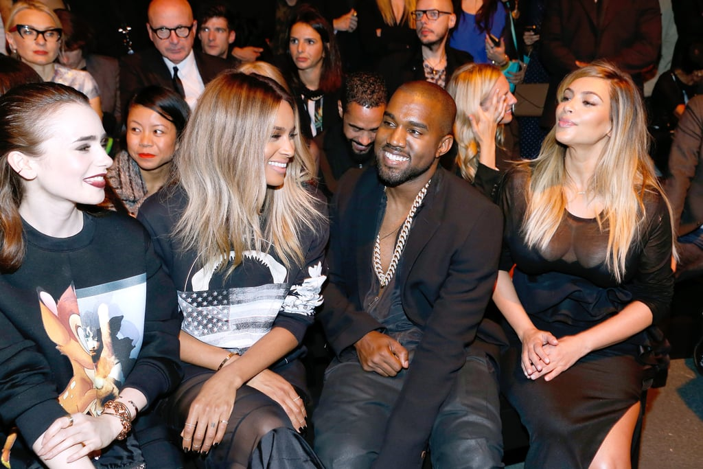 The pair sat front row for the Givenchy show alongside actress Lily Collins and Ciara.