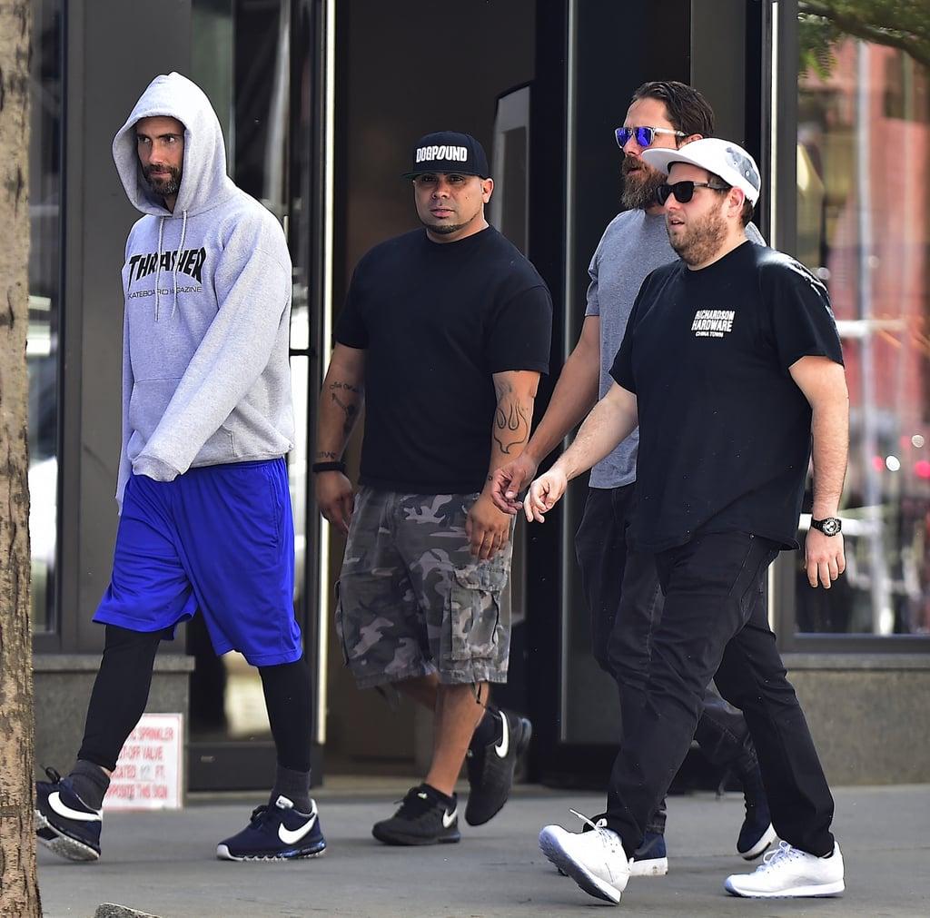 Jonah hill and adam levine in nyc july 2016 popsugar celebrity
