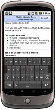Google Docs Mobile Editing