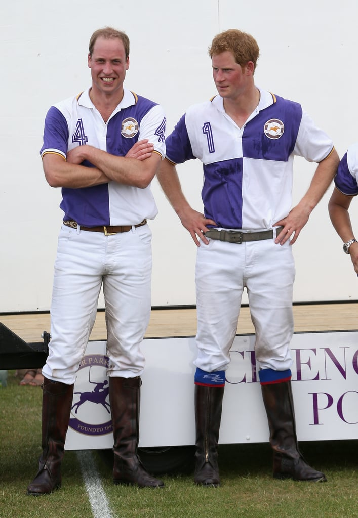 That doesn't look like a nervous dad-to-be to us! Prince William journeyed away from his pregnant wife Kate Middleton on July 14, when he and his brother Prince Harry took part in a polo championship in Cirencester, England.