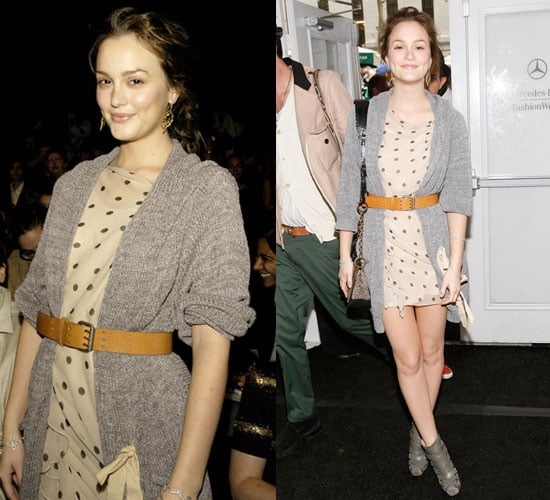 Photo of Leighton Meester in Polka-Dot Dress at New York Fashion Week