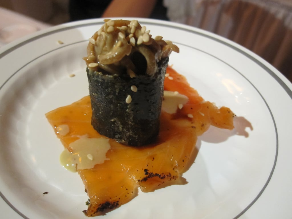 Ming Tsai created this edible masterpiece that's a combination of smoked salmon and buckwheat noodles.