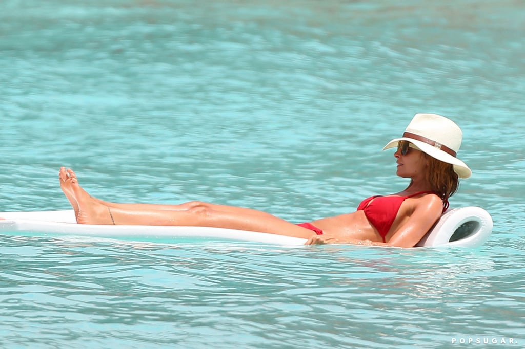 Nicole Richie floated in the water.